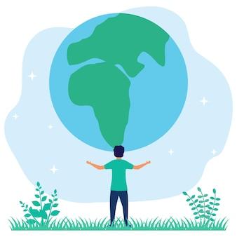 Illustratie vector grafische stripfiguur van bescherming of behoud van de aarde