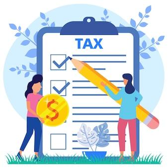 Illustratie vector grafische stripfiguur van betalen belastingen