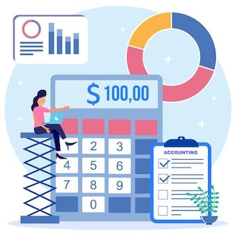 Illustratie vector grafische stripfiguur van boekhouding