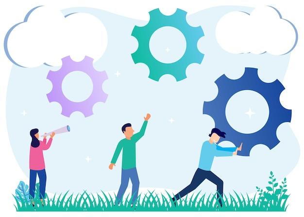 Illustratie vector grafische stripfiguur van business team