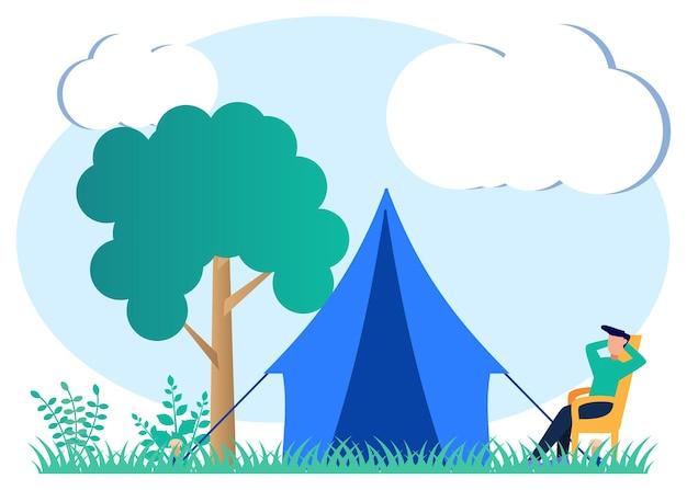 Illustratie vector grafische stripfiguur van camping