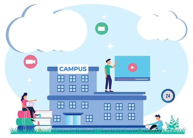 Illustratie vector grafische stripfiguur van campus
