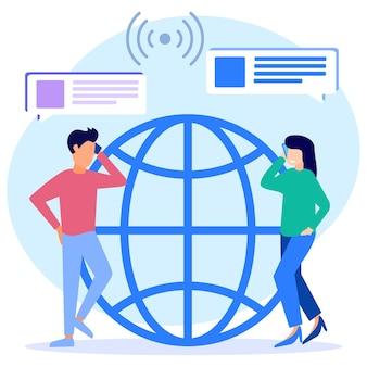 Illustratie vector grafische stripfiguur van communicatie via mobiele telefoon