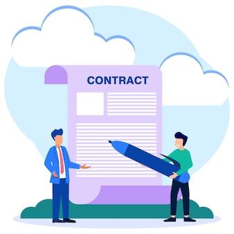 Illustratie vector grafische stripfiguur van contract