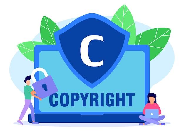 Illustratie vector grafische stripfiguur van copyright