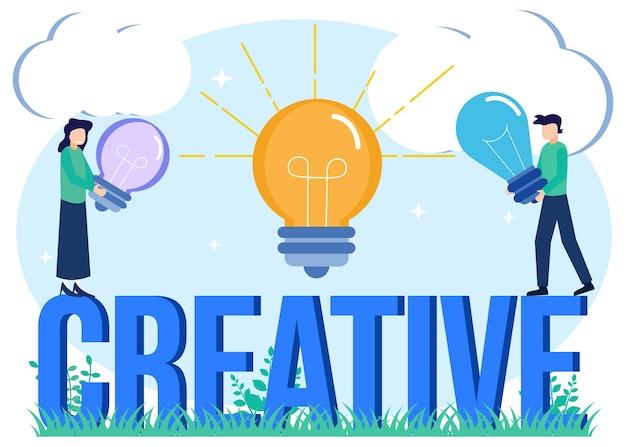 Illustratie vector grafische stripfiguur van creatief idee