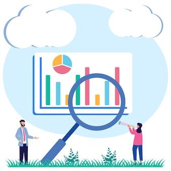 Illustratie vector grafische stripfiguur van data-analyse