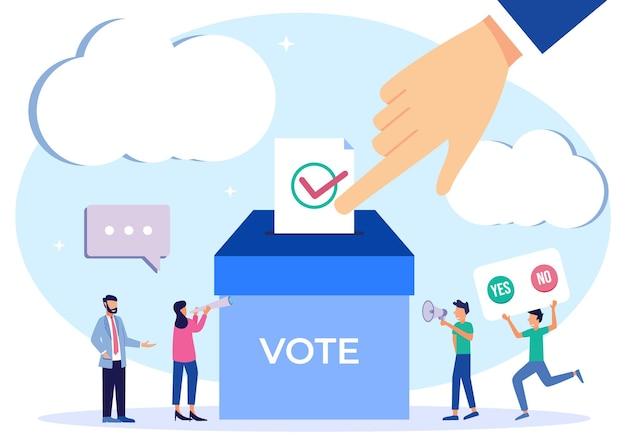 Illustratie vector grafische stripfiguur van democratie