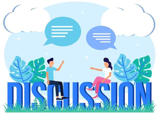 Illustratie vector grafische stripfiguur van discussie