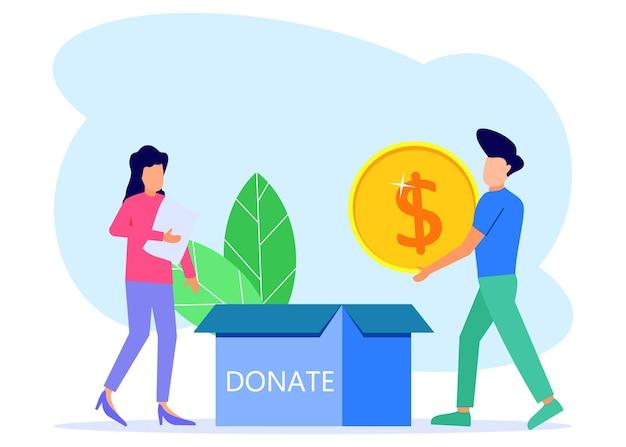 Illustratie vector grafische stripfiguur van donatie