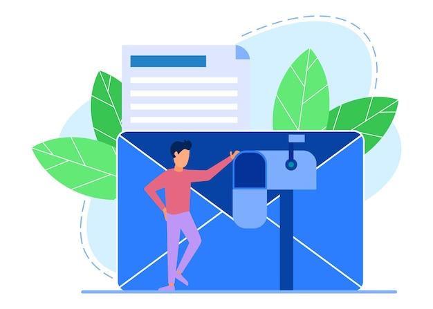 Illustratie vector grafische stripfiguur van e-maildiensten
