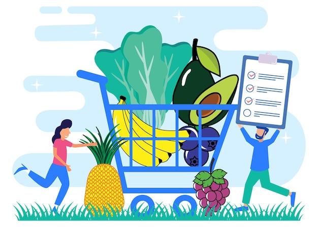 Illustratie vector grafische stripfiguur van evenwichtige gezonde voeding