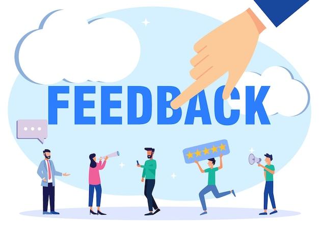 Illustratie vector grafische stripfiguur van feedback