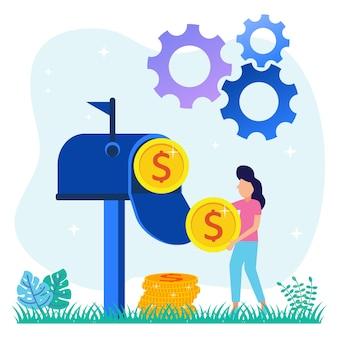 Illustratie vector grafische stripfiguur van financiële transacties