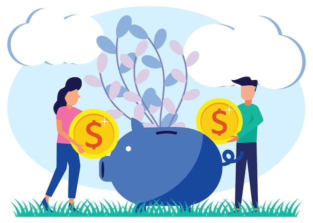 Illustratie vector grafische stripfiguur van geld besparen
