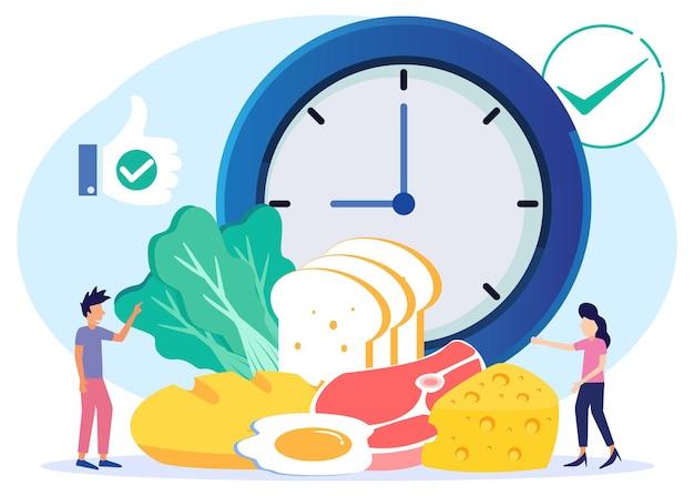 Illustratie vector grafische stripfiguur van gezond en uitgebalanceerd voedsel