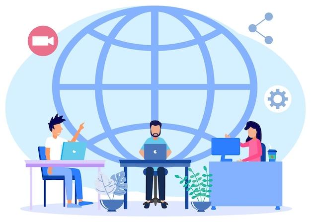 Illustratie vector grafische stripfiguur van global freelancen