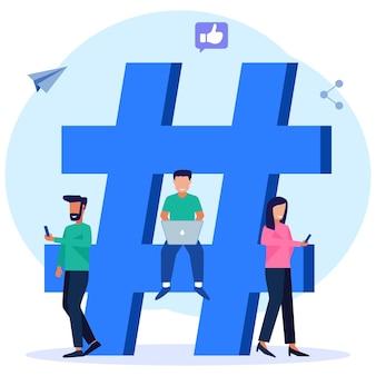 Illustratie vector grafische stripfiguur van hashtag