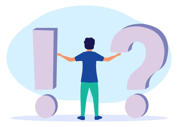 Illustratie vector grafische stripfiguur van het beantwoorden van vragen