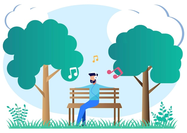Illustratie vector grafische stripfiguur van het luisteren naar muziek