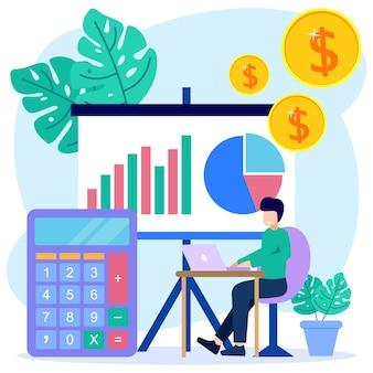 Illustratie vector grafische stripfiguur van inkomstenverbetering en zakelijke methoden