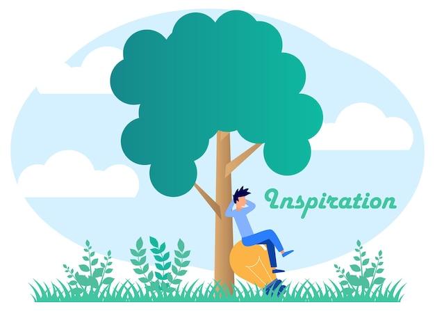 Illustratie vector grafische stripfiguur van inspiratie