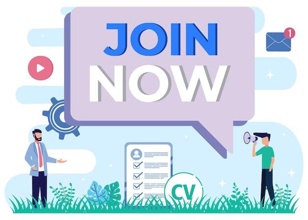 Illustratie vector grafische stripfiguur van join now