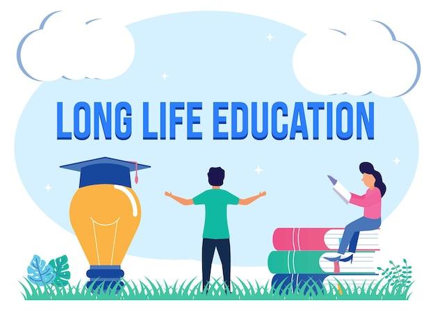 Illustratie vector grafische stripfiguur van lang leven onderwijs