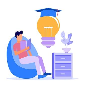 Illustratie vector grafische stripfiguur van leren van thuis