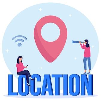 Illustratie vector grafische stripfiguur van locatie
