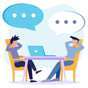 Illustratie vector grafische stripfiguur van meeting