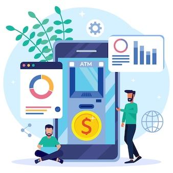 Illustratie vector grafische stripfiguur van mobiel bankieren