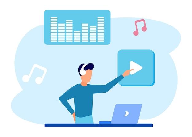 Illustratie vector grafische stripfiguur van muziek