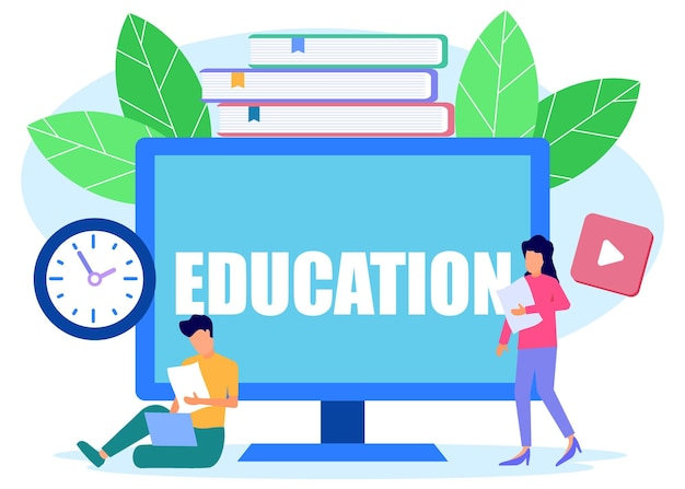 Illustratie vector grafische stripfiguur van onderwijs