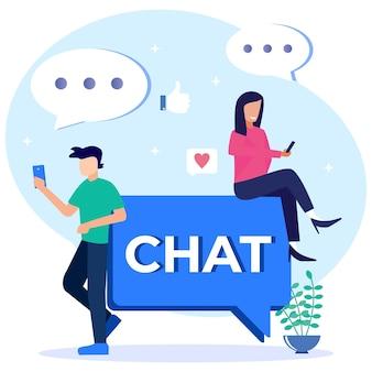 Illustratie vector grafische stripfiguur van online chat