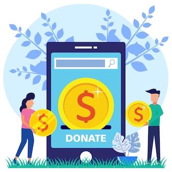 Illustratie vector grafische stripfiguur van online donatie