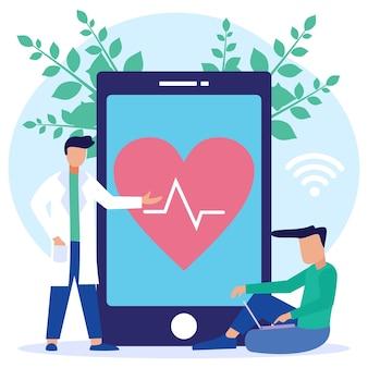 Illustratie vector grafische stripfiguur van online gezondheidsoverleg