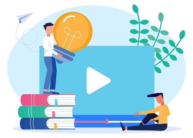 Illustratie vector grafische stripfiguur van online onderwijs