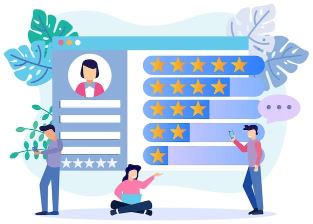 Illustratie vector grafische stripfiguur van online rating