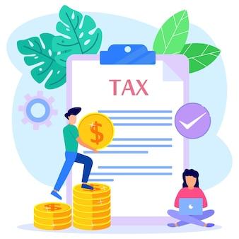 Illustratie vector grafische stripfiguur van online tax