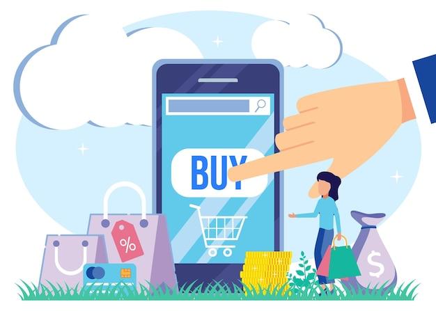 Illustratie vector grafische stripfiguur van online winkelen