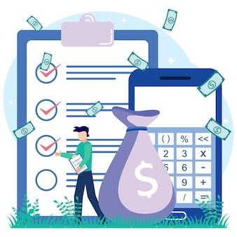 Illustratie vector grafische stripfiguur van openbare financiën