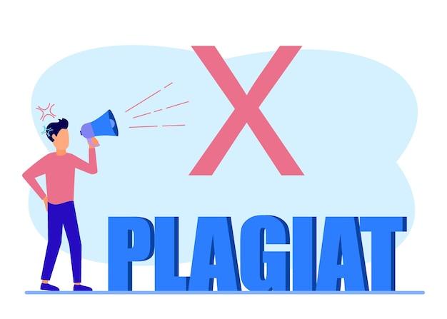 Illustratie vector grafische stripfiguur van plagiaat