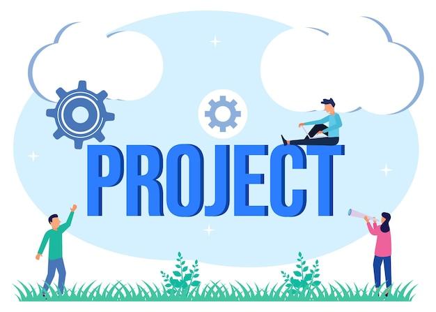 Illustratie vector grafische stripfiguur van project