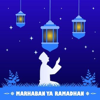 Illustratie vector grafische stripfiguur van ramadan kareem
