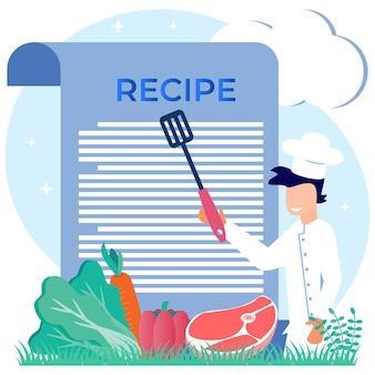 Illustratie vector grafische stripfiguur van recept