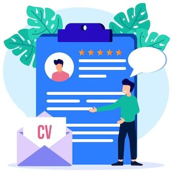 Illustratie vector grafische stripfiguur van recruitment