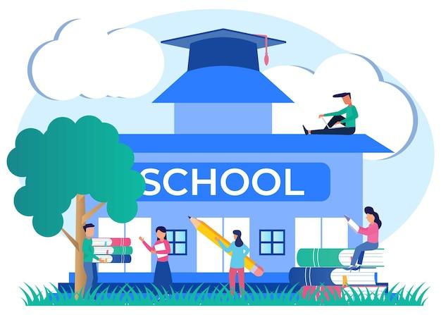 Illustratie vector grafische stripfiguur van school