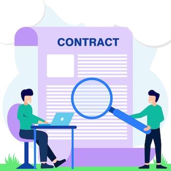 Illustratie vector grafische stripfiguur van slim contract