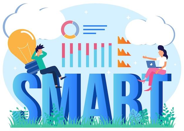 Illustratie vector grafische stripfiguur van smart